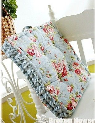 Shabby French Victorian Country Chic Blue Thick Cotton Quilted Chair Pad Mat p