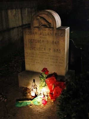"""TIL the """"Poe Toaster,"""" an anonymous man dressed in black that made an annual visit to Poe's grave with a half empty bottle of cognac and three roses, was a tradition for more than 50-years. This is the third year he hasn't shown up."""