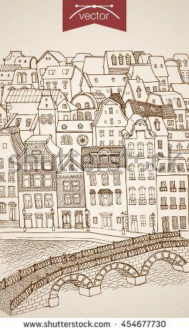 Engraving vintage hand drawn vector city street river bridge. Pencil Sketch architecture illustration.