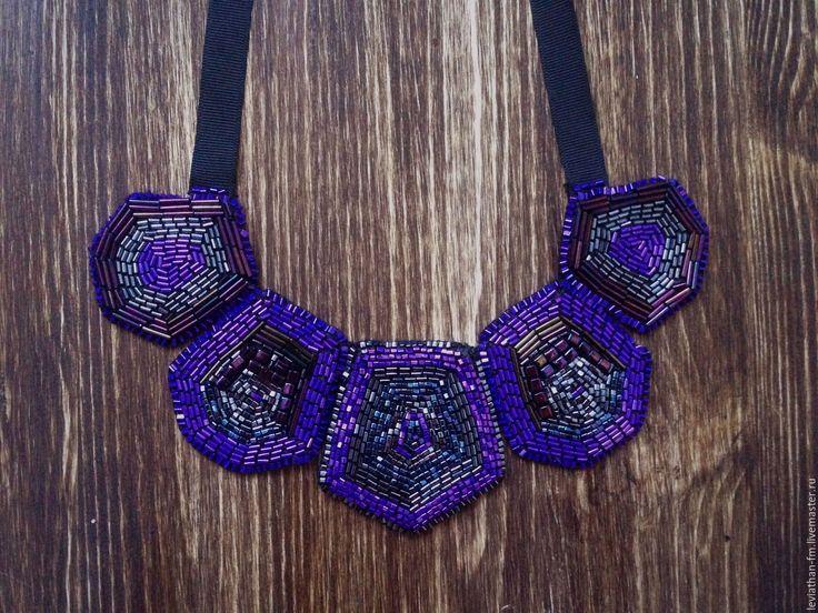 Купить Ожерелье из бисера - тёмно-фиолетовый, ожерелье, бисер, Украшение ручной работы, украшение на шею