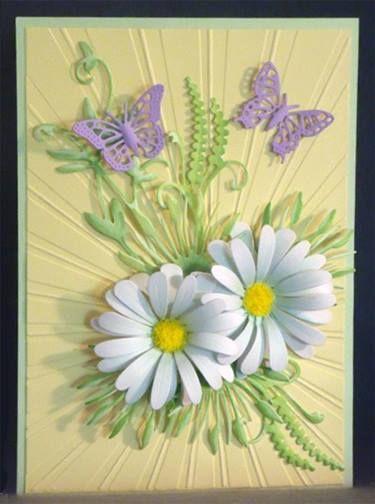 "Background embossing folder ""Dazzling Sunburst"" by Ecstasy Crafts Dies: Cheery Lynn Stacker Flower SF-2 Exotic Butterfly Small DL-112, Marianne dies: leaves & branches LR-0192, LR-0151, LR-0157, Flower Soft ""Sunshine Yellow"" flower center"