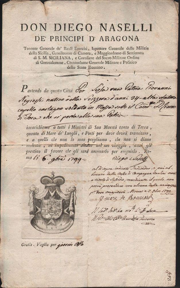 BRIGANTAGGIO FIRMA AUTOGRAFA DI DIEGO NASELLI  E DI DE BOUCARD 6 OTTOBRE 1799