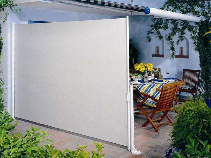 windschutz terrasse ausziehbar markise wei e seitenmarkise. Black Bedroom Furniture Sets. Home Design Ideas