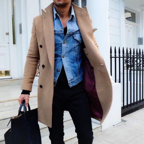layers // menswear, mens style, fashion, camel coat, topcoat, overcoat, street style