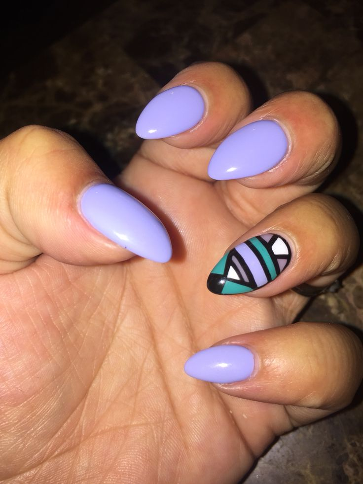 Almond shaped nails periwinkle gel nails design