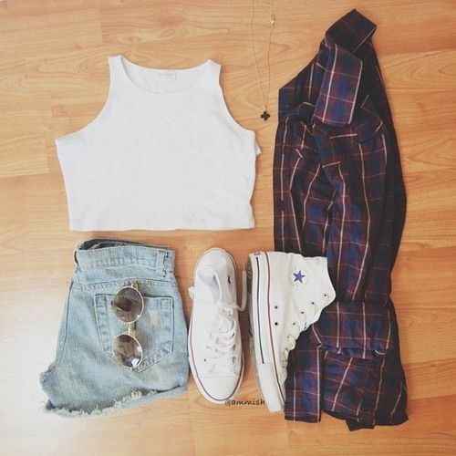 White tank crop top with highwaisted shorts and a plaid flannel and some high top white converse