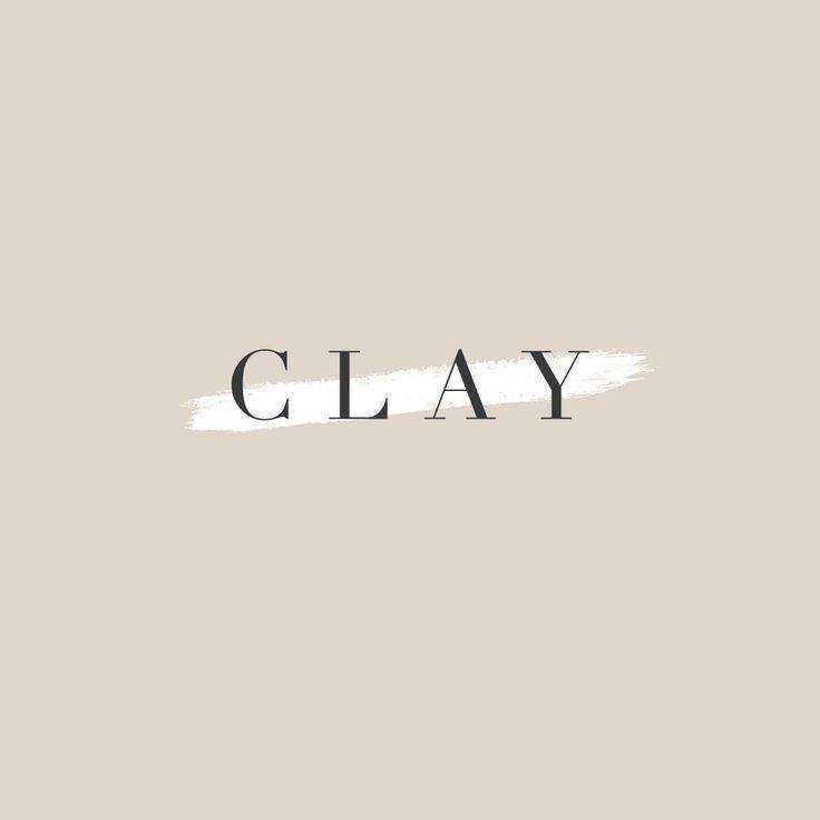 Clay Branding Project. Minimal, classic, elegant, feminine, neutral logo design with brush stroke. Serif font logo design. Serif font brand design.