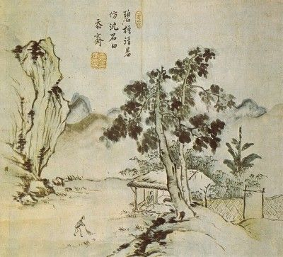 (Korea) 벽오청서 by Gang Se-hwang (1713-1791). color on paper. 30.5× 35.5cm. Private collection. 벽오청서도