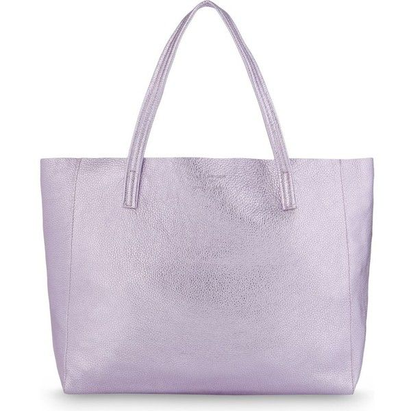 Kurt Geiger London Violet Horizontal leather tote (3.970 CZK) ❤ liked on Polyvore featuring bags, handbags, tote bags, leather tote, purple purse, leather handbag tote, leather purses and purple tote