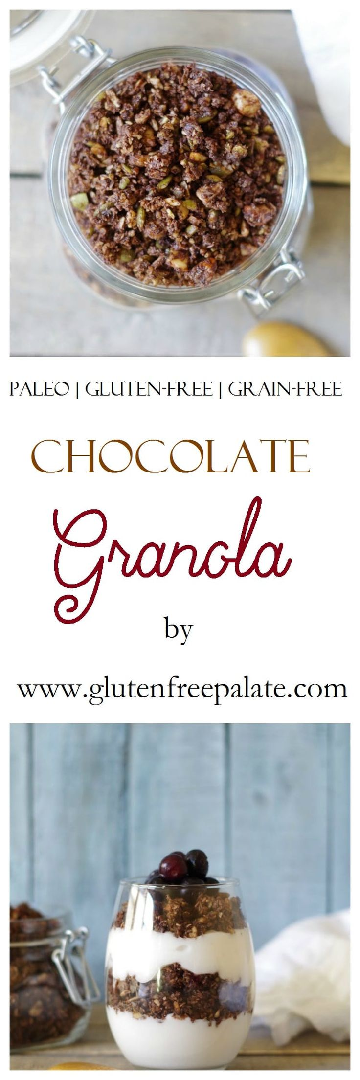 Delicious on its own, or served on top of dairy-free yogurt, this Chocolate Paleo Granola is tasty and filling. via @gfpalate