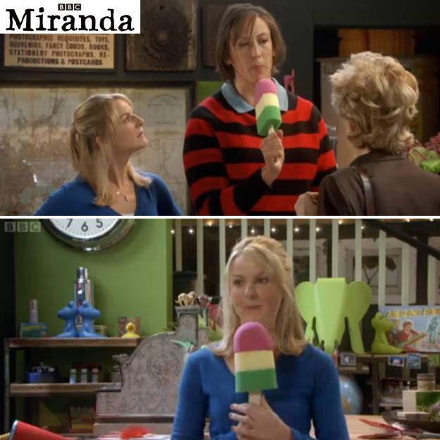"""Look! The gauntlet has a name: """"Our Splashpop sponge made a TV appearance this week on the fabulously, funny Miranda Hart show. Doubling up as a microphone and dueling stick, it took pride of place in Miranda's shop when she was caught up in a debate with her mother and best friend Stevie."""""""