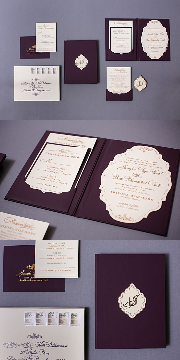 Plum invitations never looked so beautiful. We made book style plum leather feel invitations with a vintage die cut invitation. The invitations were printed gold.  Unique envelopes were actually boxes designed with a die cut envelope flap. Click through to read about the details and pin for later!