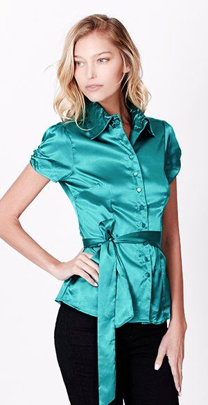 LE3NO Womens Short Sleeve Satin Blouse with Waist Tie at Amazon Women's Clothing store:
