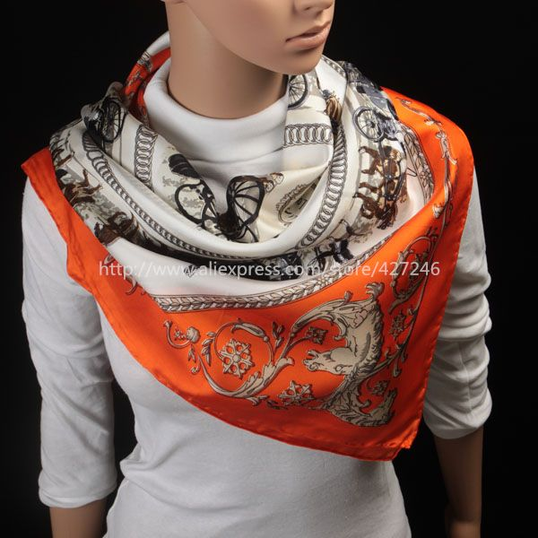 2015 Spring New Arrival France Euro Brand Style Women Fashion Silk Polyester Square Scarf Big Size 90cm*90cm Silk Shawl