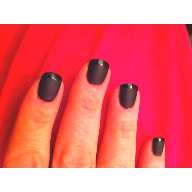 Matte black with glossy tips French manicure