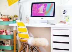 DIY Hack: Use Industrial-Strength Velcro | You don't even have to lift a hammer to reconstruct this chic computer desk for your bedroom or office. Using just industrial-strength Velcro, you can assemble two IKEA Hilver table legs, a Linnmon tabletop, and a Micke drawer unit into a good-looking and hardworking surface for desktops, laptops, and everyday paperwork, all in the span of a few hours.