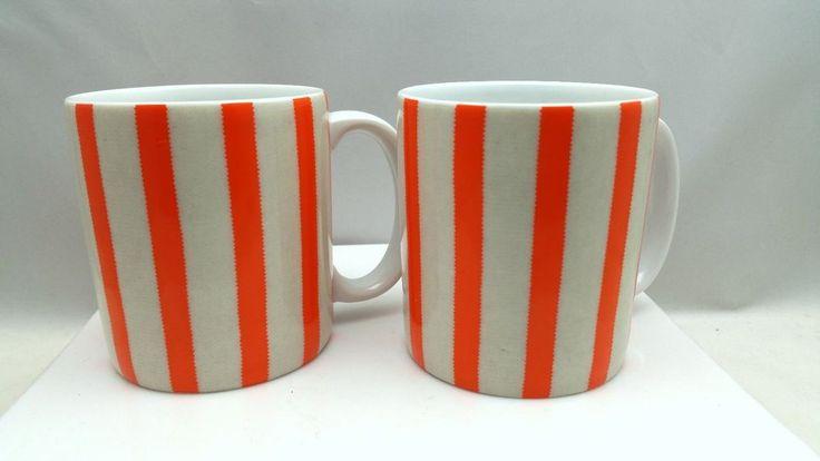 2 Sabre France Porcelain Orange Striped Coffee Tea Mugs Cups #Sabre