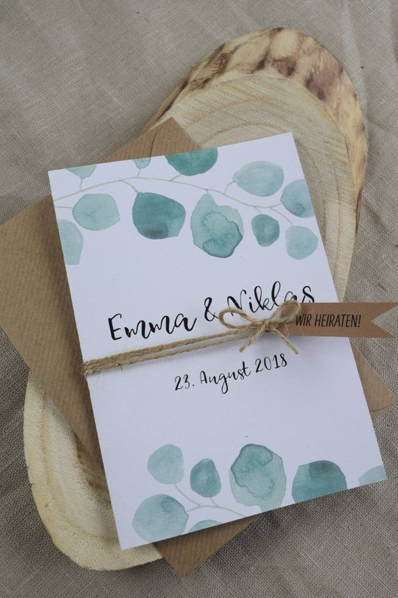 Wedding invitation, eucalyptus, vintage style, wedding invitation card, in-note wedding card