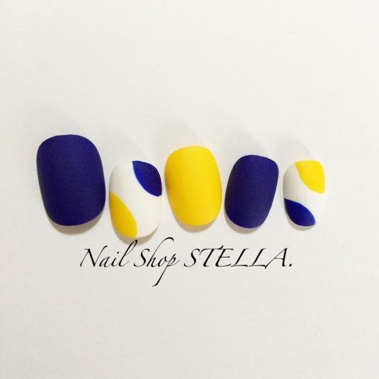 Yellow, white, & navy nails
