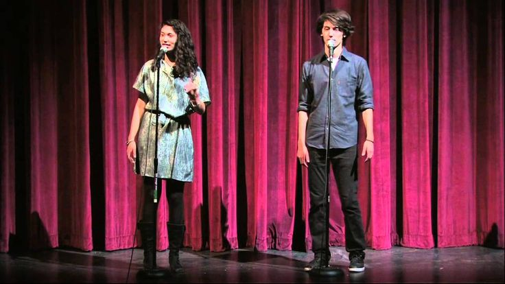 """An Origin Story"" spoken word poetry by Sarah Kay and Phil Kaye.  Poem starts around 1:35"
