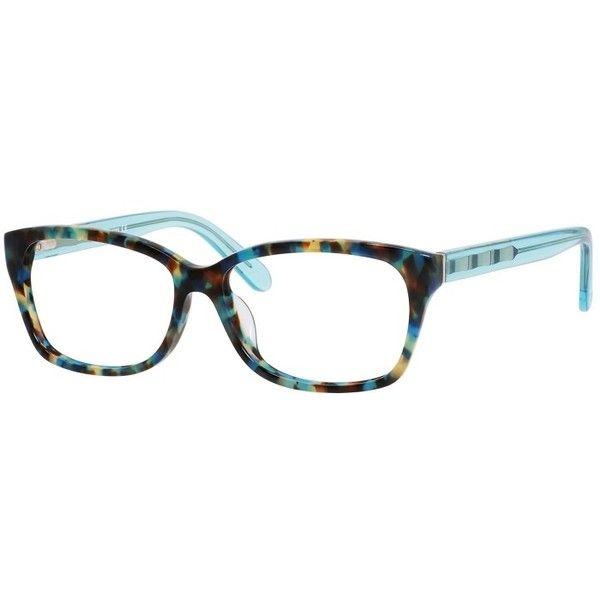 Kate Spade Demi/F Teal Havana Teal Frame Eyeglasses ($89) ❤ liked on Polyvore featuring accessories, eyewear, eyeglasses, kate spade, kate spade eyeglasses, kate spade eye glasses, striped glasses and lens glasses