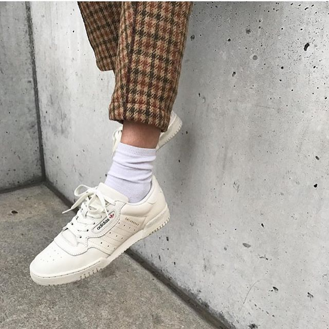 White sneakers + checkered pants