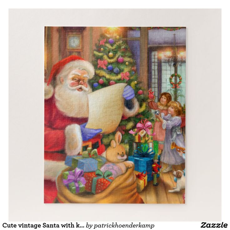 Cute vintage Santa with kids