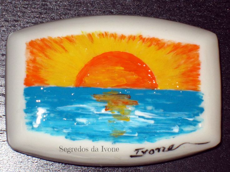 SA45-  Pintura em sabonete - motivo paisagem de mar