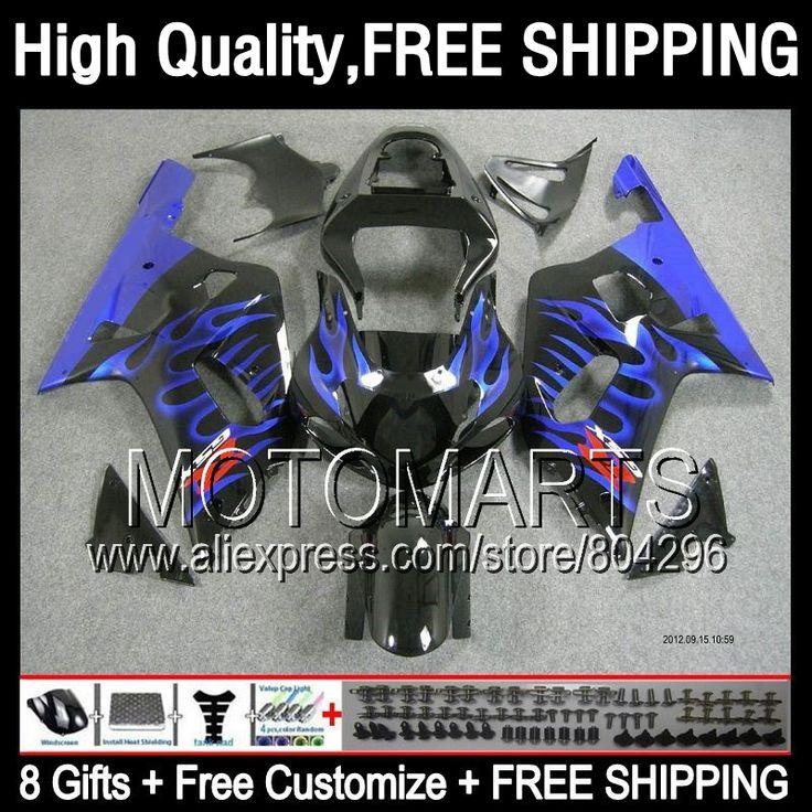 Blue black 8Gift Fairing For SUZUKI GSXR 600 750 GSXR750 2001 2002 2003 1JK8180 R600 K1 Blue flames GSX R750 01 02 03 GSXR600