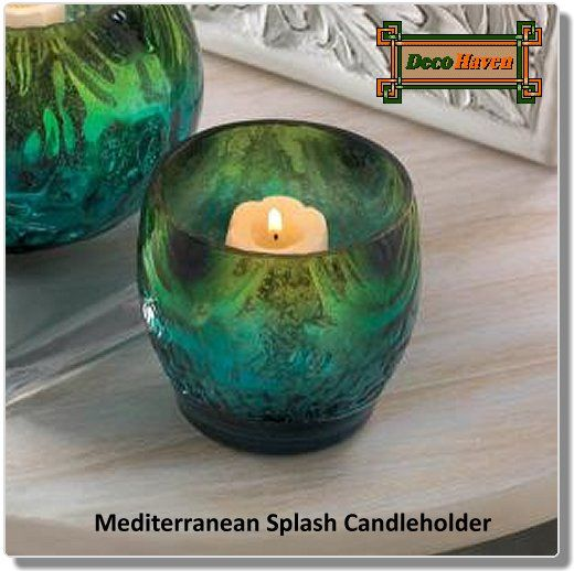 Mediterranean Splash Candleholder - Make a splash in your living space with the iridescent shimmer and fabulous colors of this small candleholder. Place a candle inside for the ultimate in rich, sultry glow.