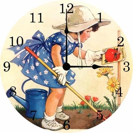 Little Gardener Vintage Wall Clock - for nursery