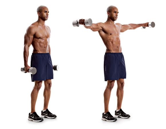 Dumbbell Lateral Raise  http://www.menshealth.com/fitness/best-traps-exercises/slide/8