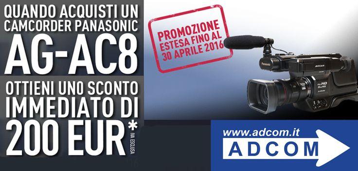 Promo Panasonic AG-AC8 Promozione con rimborso immediato Risparmi Euro 200,00* sull'acquisto di una AG-AC8! Info:  https://www.adcom.it/news.php?lang=en&idliv1=5&idn=225