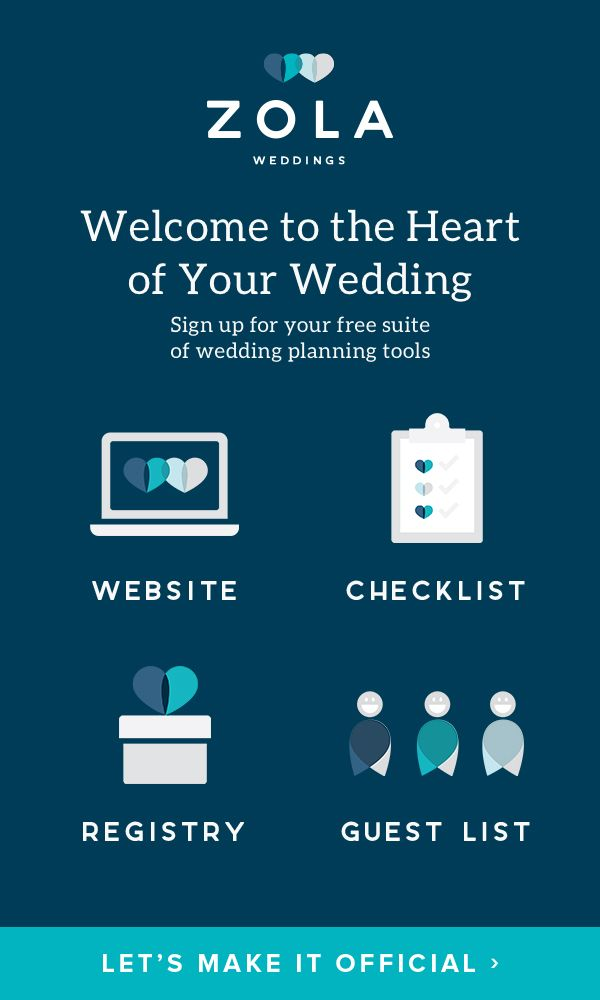 """Planning a wedding? Meet your free suite of wedding planning tools: Your wedding website, registry, checklist, and guest list ALL in one place. We like to call it """"the heart of your wedding,"""" but we'll let you decide."""