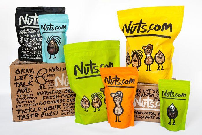 ニュージャージーの、ナッツ屋さんのパッケージ。イラストもかわいいけど、書体もいいな。(via Nuts.com)
