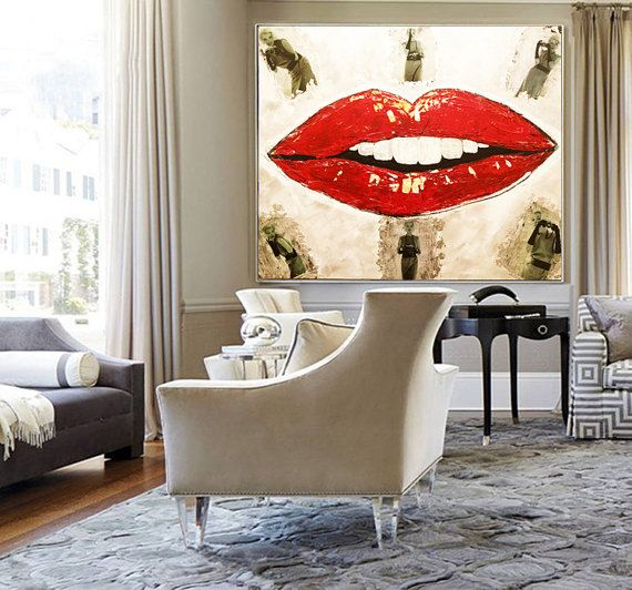 ORGINAL Art Large Abstract Painting on Canvas Wall Art Marilyn MONROE Art Pop Art Painting Living Room Art Home Decor Red Black Abstract