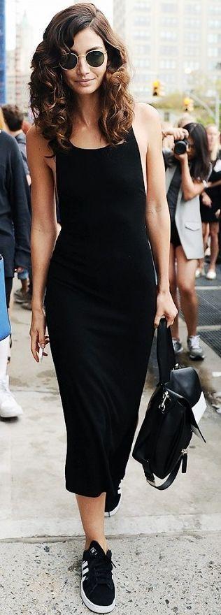 Who What Wear - Black Snealers Reformation Diletta L B D Celebrity Style Inspo THOSE CURLS