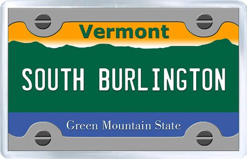 $3.29 - Acrylic Fridge Magnet: United States. License Plate of South Burlington Vermont