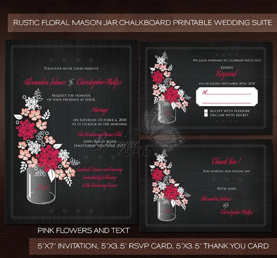 #Mason #Jar #Wedding #Invitation - #Rustic #Floral Mason Jar #Chalkboard Invitation, Rsvp card, Thank You card PRINTABLE Files DIY by Ruxique
