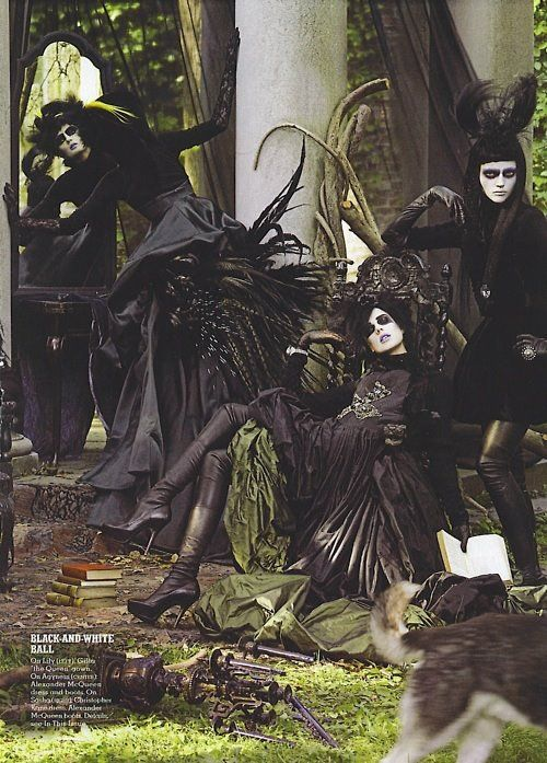 I had this magazine..i cut out the coolness for my collage :) Couture black and white. Witch. Halloween.  Photo shoot.