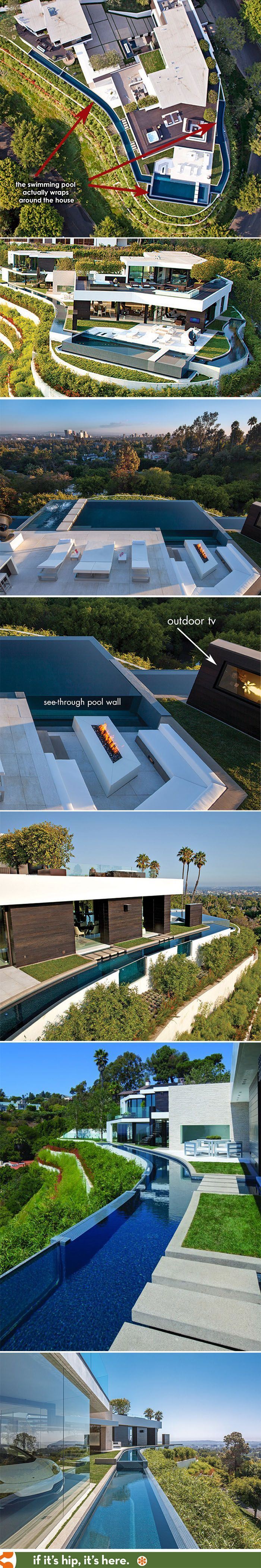 Part one modern mansion with wrap around pool and glass walled garage for 36