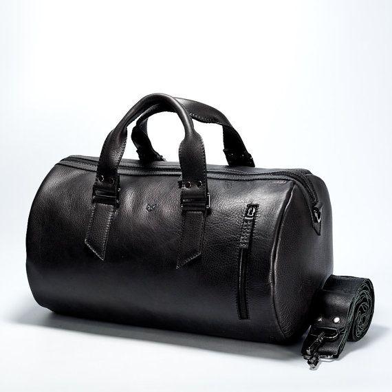 Maletín de cuero negro de 35 litros, bolsa para hombre, bolsa fin de semana, gimnasio bolsa, bolsa de equipaje de mano, bolsa de viaje, maletas de cuero, bolso de cuero, llevar o