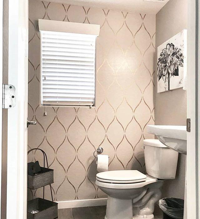 Bathroom Wall Stencil Painted Accent Wall Bathroom Ideas Comfortbydesignaz Diy Design Homedecor I Stencils Wall Stencil Painting On Walls Restroom Decor