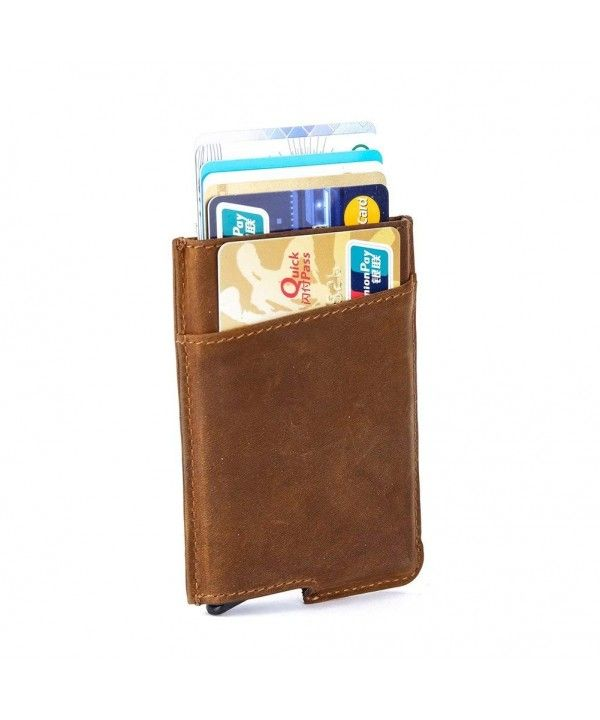 RFID Blocking Slim Wallet Aluminum Front Pocket Wallet Money Clip Wallet Automatic Pop Up Wallet