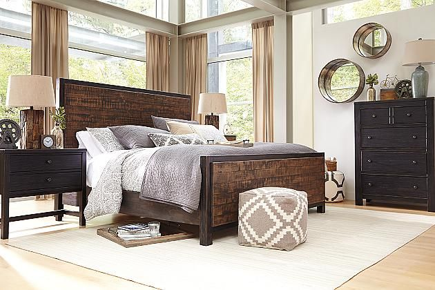 Rustic Brown Wesling King Panel Bed View 6