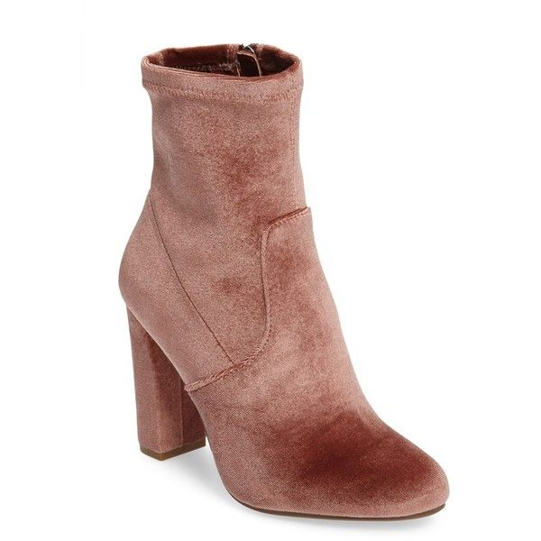 Women's Steve Madden Edit Bootie ($90) ❤ liked on Polyvore featuring shoes, boots, ankle booties, blush velvet, steve madden bootie, block heel boots, velvet ankle boots, slouch booties and slouchy booties