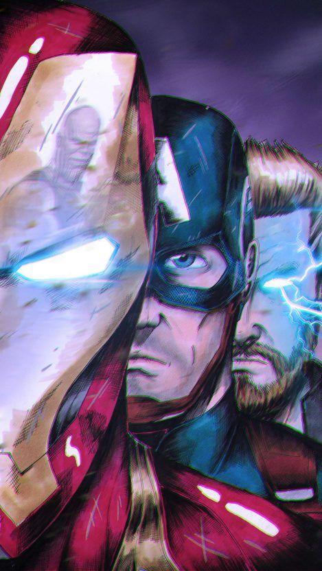 Endgame Iron Man Captain and Thor vs Thanos iPhone