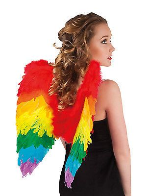 Ladies Womens Rainbow Foldable Angel Wings Fancy Dress Hen Gay Pride Stag Party