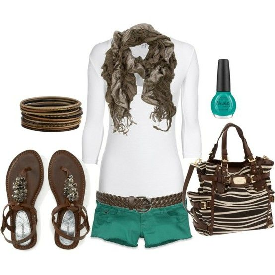 cute outfit!: Summer Fashion, Colors Combos, Dreams Closet, Cute Outfits, Teal Shorts, Summer Outfits, Green Shorts, Spring Outfits, Bags