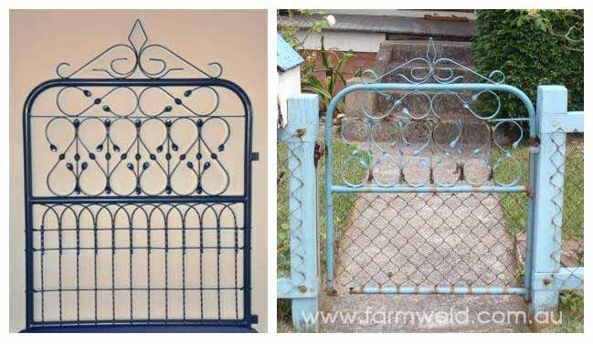 Reproduction of wrought iron cyclone gate with new heritage woven wire (emu wire) insert. Austinmer, Northern Illawarra, NSW.
